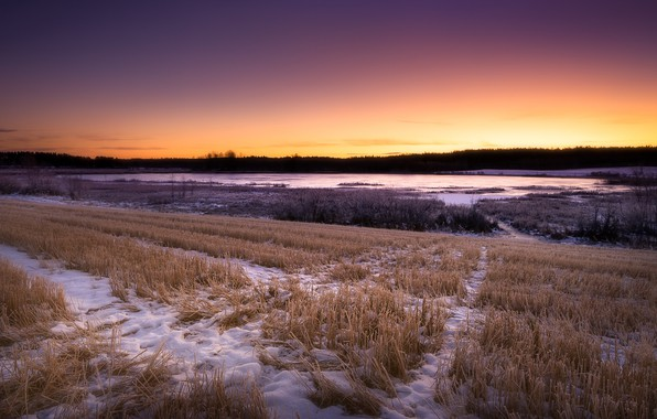 Picture field, autumn, snow, sunset