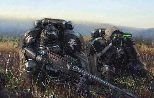 Picture fiction, soldiers, armor, sniper, warhammer, 000, art, Warhammer 40, Warhammer 40K, WH40K