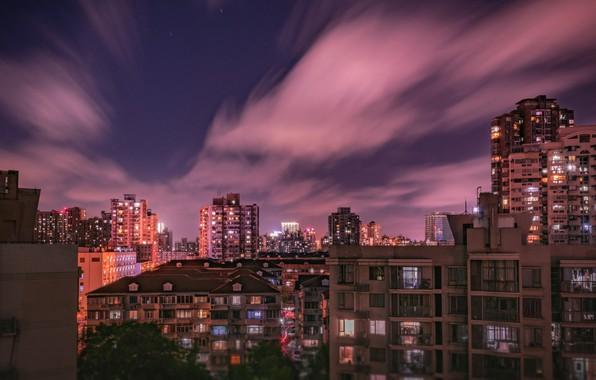 Picture sky, night, buldings