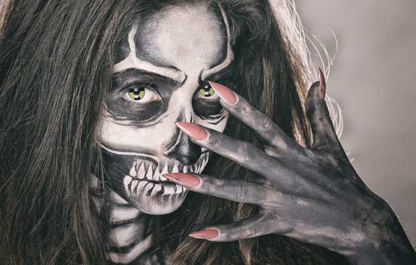 Picture eyes, girl, face, style, hair, skull, hand, makeup, skeleton, fingers, manicure