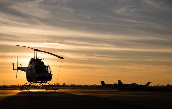 Picture sunset, helicopter, airbase