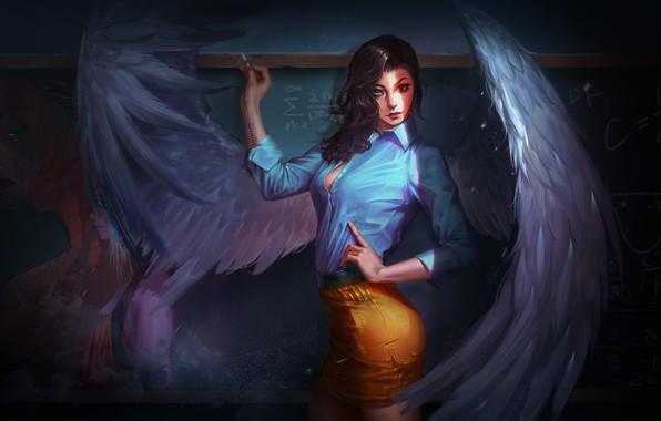 Picture look, girl, wings, angel, fantasy, art, Board, the teacher, Mel