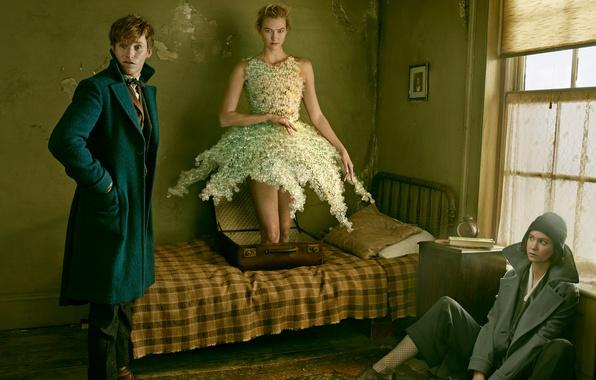 Picture girls, room, magic, bed, shoes, male, suitcase, coat, Vogue, Eddie Redmayne, Eddie Redmayne, Annie Leibovitz