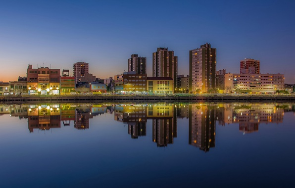 Picture twilight, river, sunset, Argentina, dusk, reflection, blue hour, cityscape, Buenos Aires, urban scene, River of …