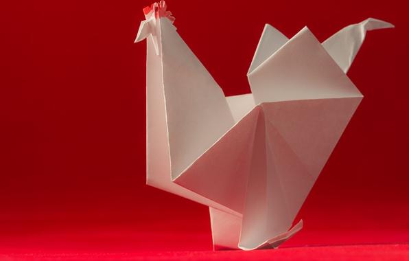 Picture paper, bird, origami, cock