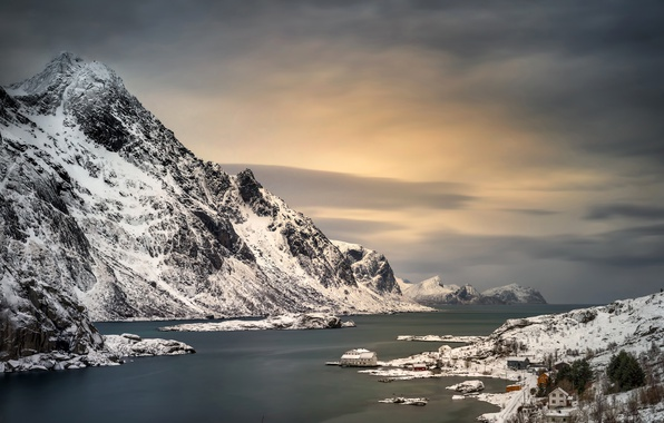 Picture winter, sea, snow, mountains, stones, rocks, shore, Norway, Bay, houses, The Lofoten Islands, Lofoten
