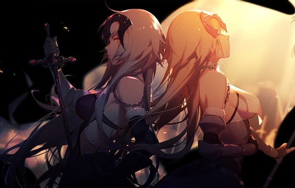 Photo wallpaper girls, joan of arc alter, fate/apocrypha, sword, fate/grand order, asukaziye, anime, joan of arc, light, ...