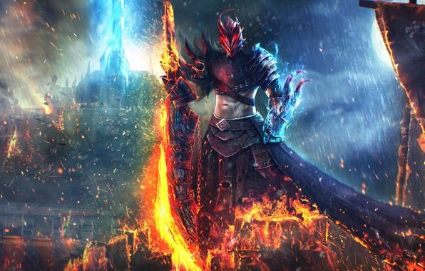 Picture fire, sword, Guild Wars 2, art, Dragonhunter