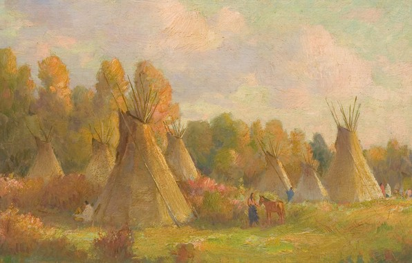 Picture hut, Joseph Henry Sharp, Crow Reservation, Indian and horse