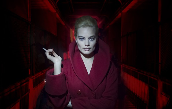 Photo wallpaper girl, cigarette, coat, Terminal, Margot Robbie