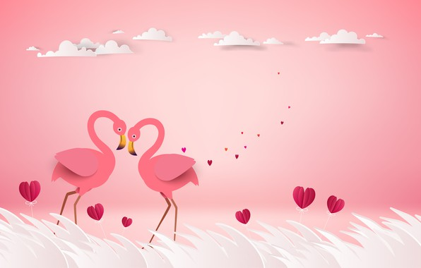 Picture love, birds, rendering, pair, hearts, pink background, Flamingo