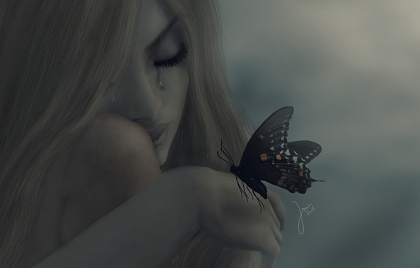 Picture girl, mood, butterfly, tears, blonde