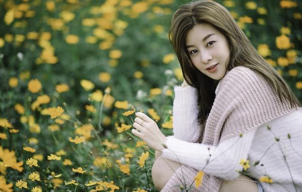 Picture look, flowers, hair, meadow, Asian, bokeh