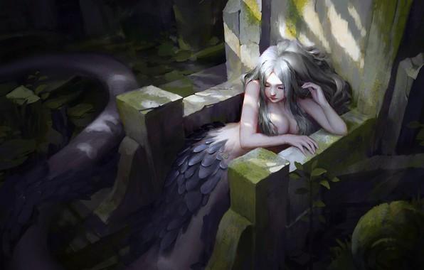 Picture girl, fantasy, underwater, sea, mood, solitude, painting, digital art, Mermaid, artwork, fantasy art, creature, sitting, …