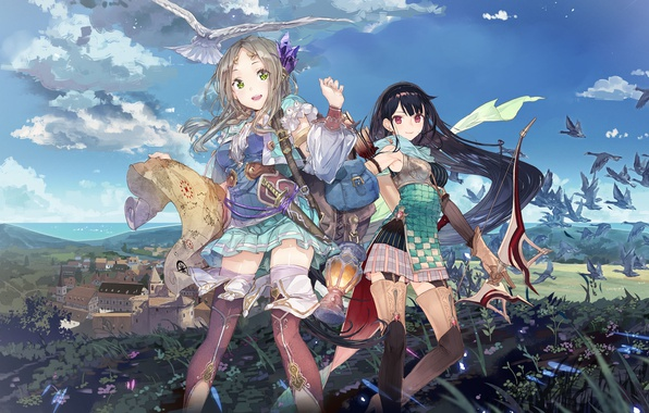Picture the sky, clouds, birds, the city, weapons, girls, map, home, anime, bow, art, bags, noco