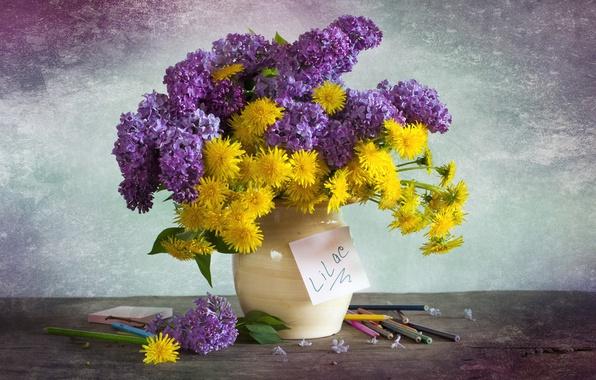 Picture bouquet, pencils, dandelions, lilac