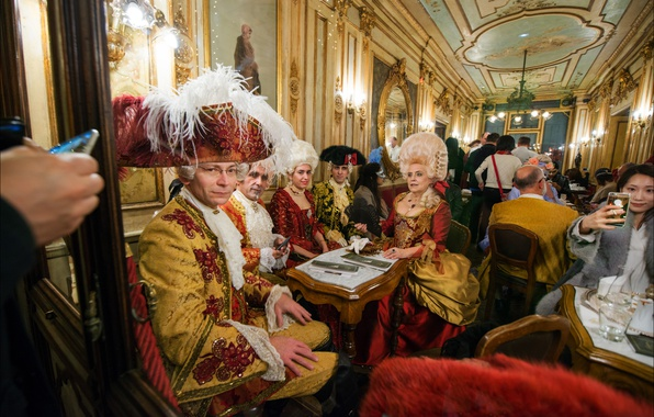 Picture Italy, costume, Venice, carnival, cafe Florian