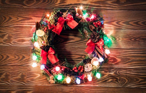 Picture decoration, lights, lights, New Year, Christmas, garland, happy, Christmas, wreath, wood, New Year, Merry Christmas, ...