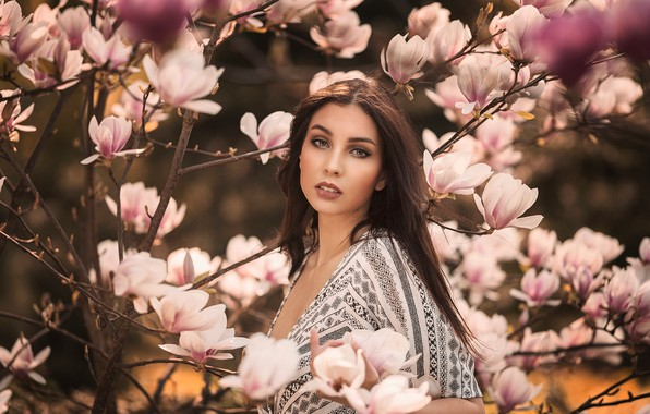 Picture look, girl, branches, tree, mood, portrait, flowering, flowers, Magnolia