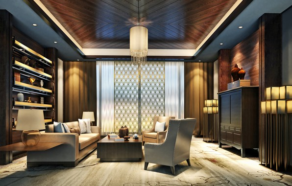 Picture design, furniture, interior, chandelier, living room