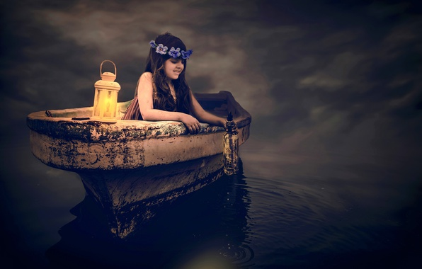 Picture water, mood, boat, bottle, the situation, girl, lantern, wreath