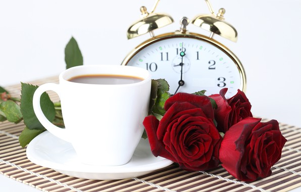 Picture flowers, watch, coffee, roses, alarm clock, Cup, three, bokeh, Burgundy