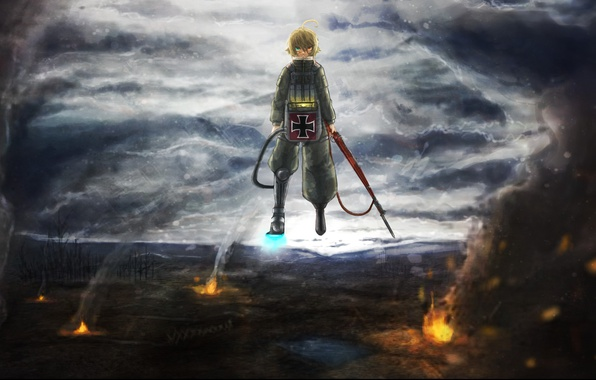 Picture fire, flame, girl, soldier, sky, military, war, anime, cloud, blonde, asian, manga, oriental, asiatic, powerful, …