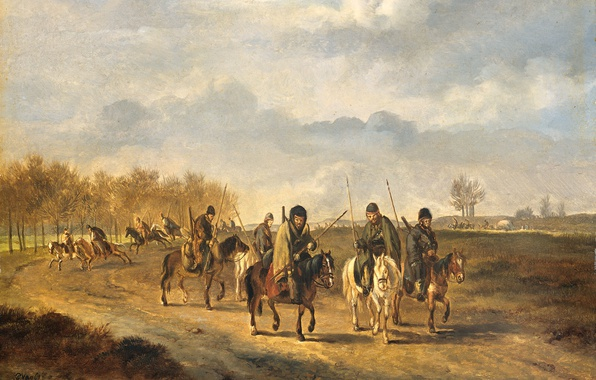 Picture tree, oil, picture, Pieter Gerardus van OS, Cossacks on a Country Road near Bergen