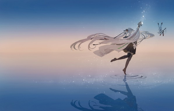 Picture water, girl, reflection, dance, anime, art, Bunny