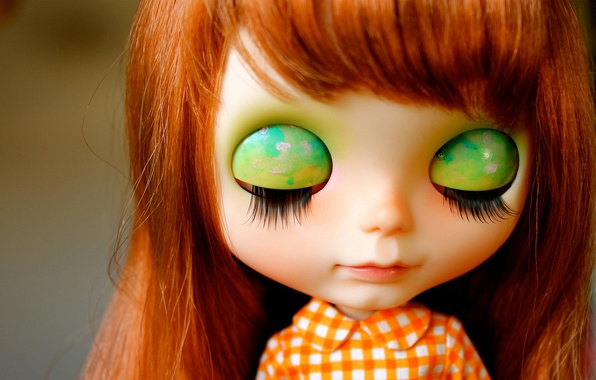 Picture eyelashes, head, doll, red, bangs, closed eyes