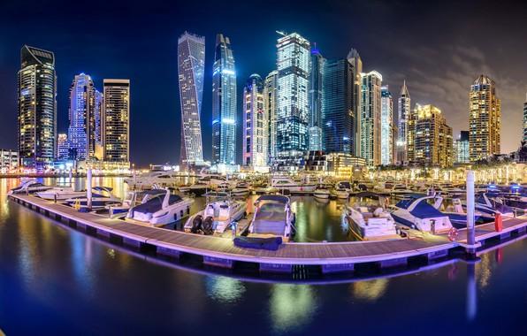 Picture Bay, yachts, Bay, Dubai, night city, Dubai, skyscrapers, UAE, UAE, Dubai Marina, Dubai Marina