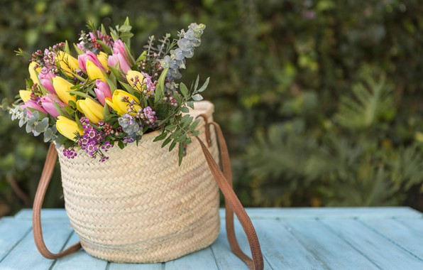 Picture flowers, bouquet, yellow, tulips, pink, wood, tulips