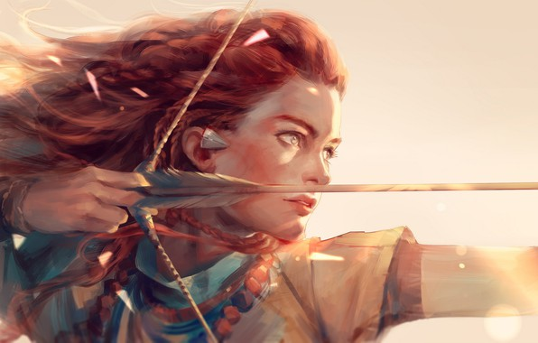 Picture girl, light, weapons, anime, bow, art, arrow, hunter, h@ge, aloy, horizon: zero dawn