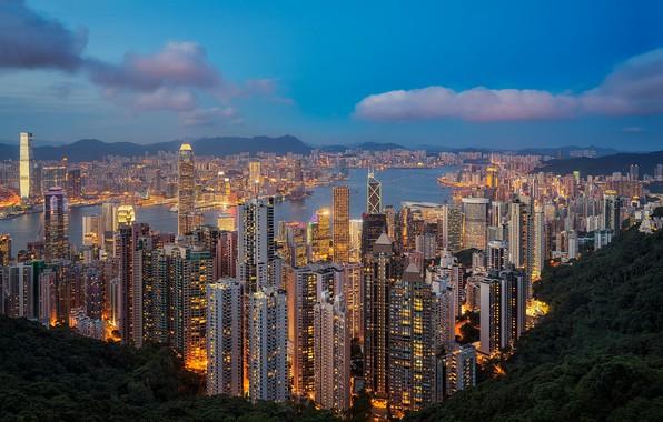 Picture Hong Kong, megapolis, skyline, Hong Kong, Hong Kong