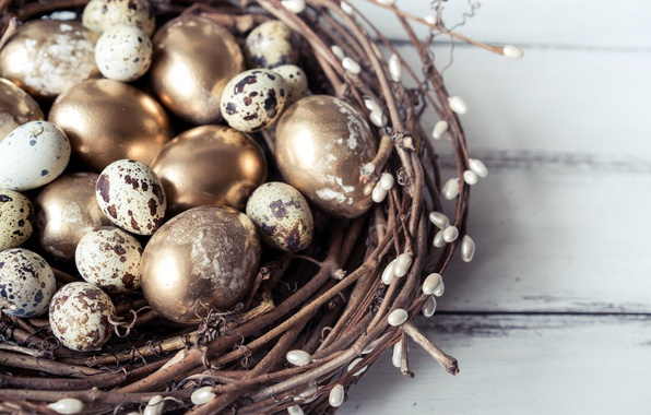 Picture branches, spring, Easter, socket, golden, happy, Verba, spring, Easter, eggs, decoration, quail eggs, the painted …