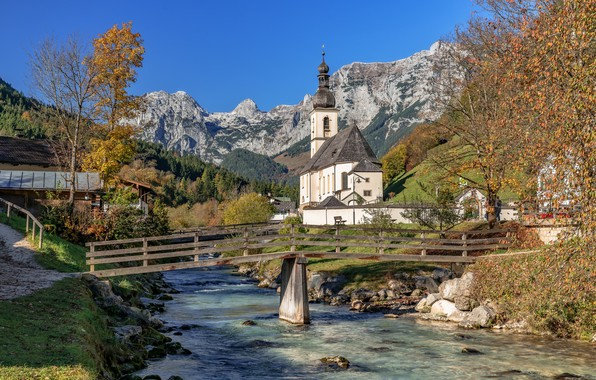 Picture autumn, trees, mountains, bridge, river, Germany, Bayern, Church, Germany, Bavaria, Bavarian Alps, The Bavarian Alps, ...