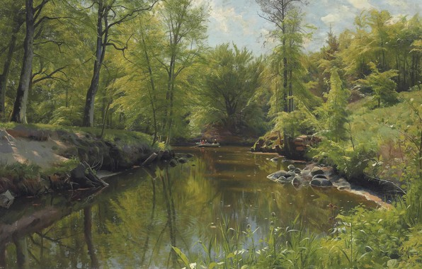 Picture Danish painter, 1922, Peter Merk Of Menstad, Peder Mørk Mønsted, Danish realist painter, Rowing on …