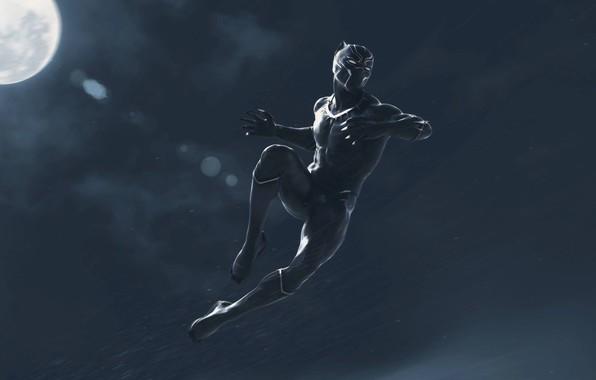 Picture night, fiction, jump, the moon, black, art, costume, Black Panther, Black Panther