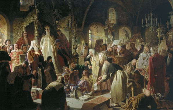 Picture oil, Canvas, the throne, Queen, Orthodoxy, 1881, Christianity, Vasily PEROV, The dispute about faith