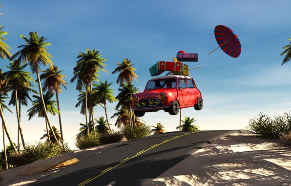 Picture road, machine, auto, the sky, the sun, palm trees, speed, vacation, umbrella, suitcases, 3D Graphics