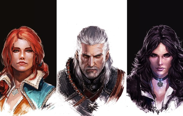 Picture girl, game, The Witcher, woman, man, hunter, witch