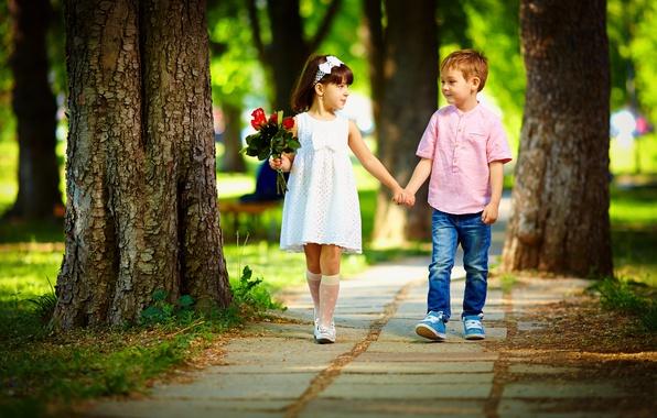 boy and girls wallpaper  Wallpaper flowers, children, Park, stay, Love, bouquet, boy, girl ...