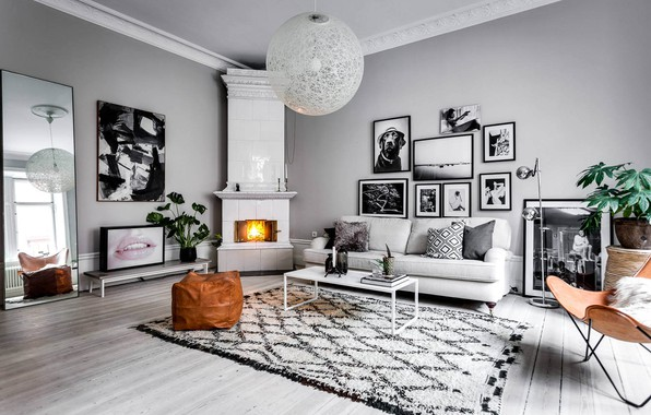Picture design, style, interior, fireplace, living room, Roslagsgatan Apartment