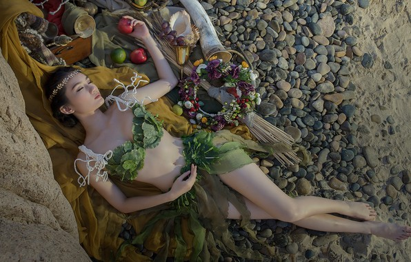 Picture sand, beach, swimsuit, girl, flowers, pose, pebbles, stones, mood, stay, feet, apples, body, glass, sleep, ...