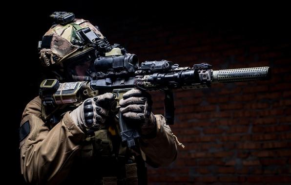 Photo wallpaper soldier, Military, elite, pearls, equipment