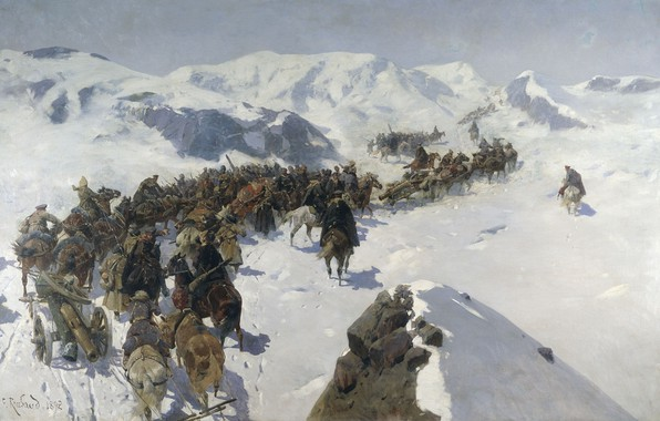Picture oil, Canvas, Franz ROUBAUD, Transition Prince Argutinsky through the Caucasian ridge
