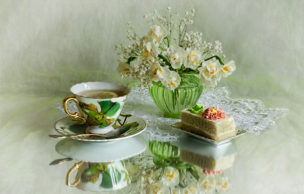 Picture reflection, lemon, tea, bouquet, cake, daffodils