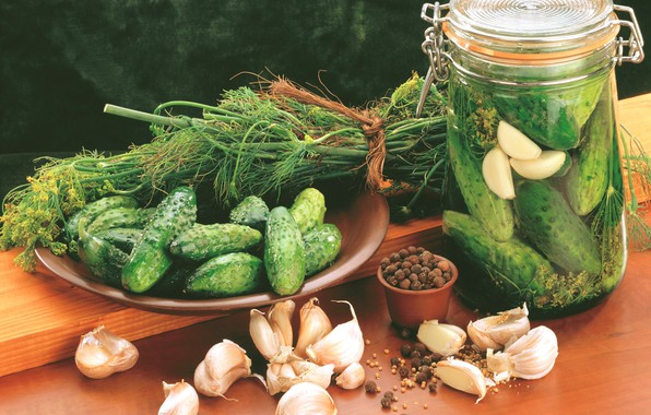 Picture greens, Wallpaper, dill, pepper, picture, cucumbers, garlic, glass jar, wooden surface, clay plate, still life …