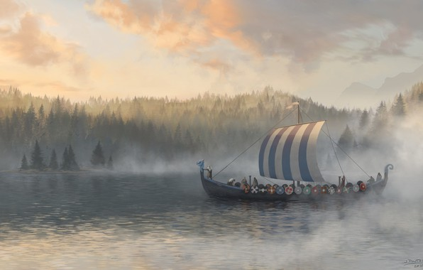Picture forest, water, boat, warriors, Northern Traders, Jon Pintar