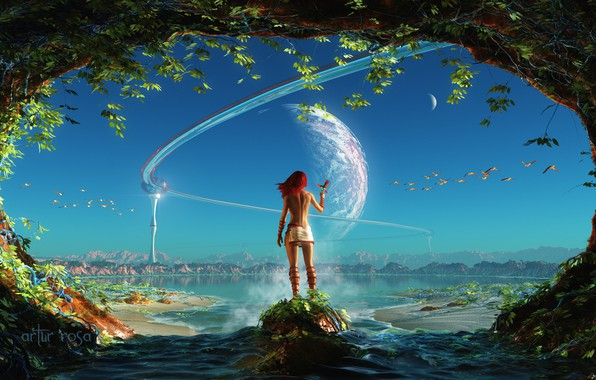 Picture the sky, water, girl, fiction, bird, planet